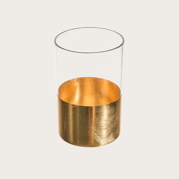 Atlas Large Glass Candle Holder with Gold Metallic Detail