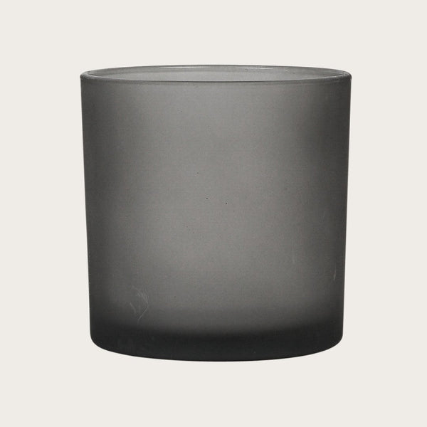 Set of 2 Mila Large Frosted Candle Holders in Grey