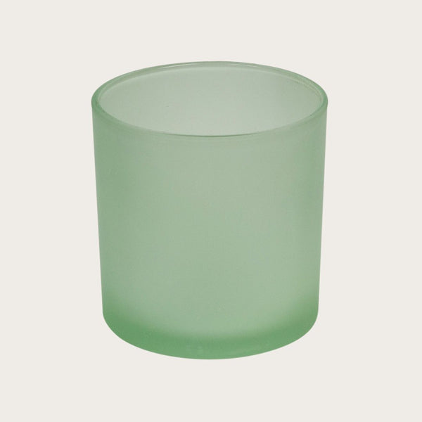 Set of 2 Mila Large Frosted Candle Holders in Green
