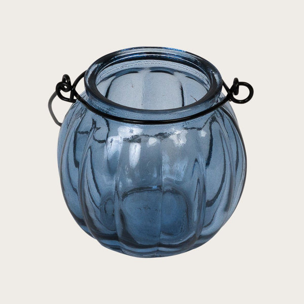 Set of 2 Landon Glass Candle Holders with Metal Handle in Blue