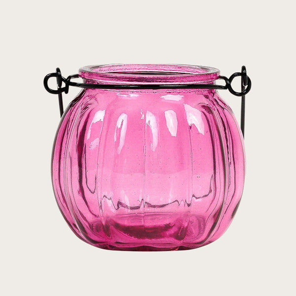 Set of 2 Landon Glass Candle Holders with Metal Handle in Pink