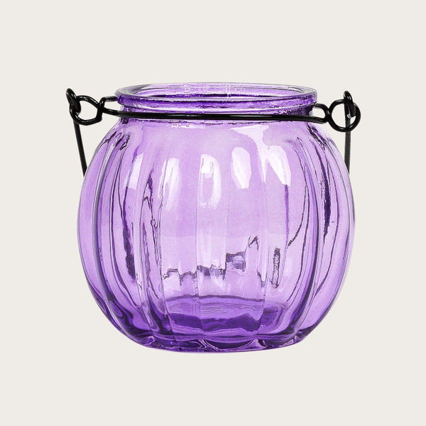Set of 2 Landon Glass Candle Holders with Metal Handle in Violet