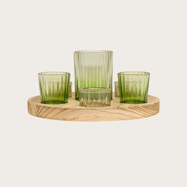 Bohemian Candle Holder Set with Wooden Tray