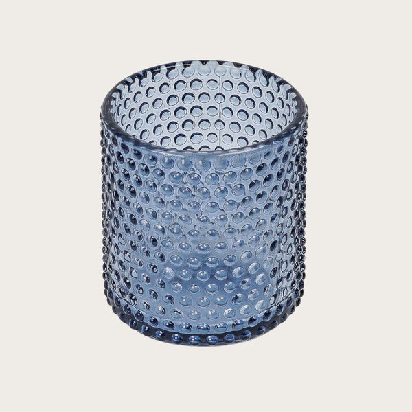 Amelia Small Textured Glass Candle Holders in Blue