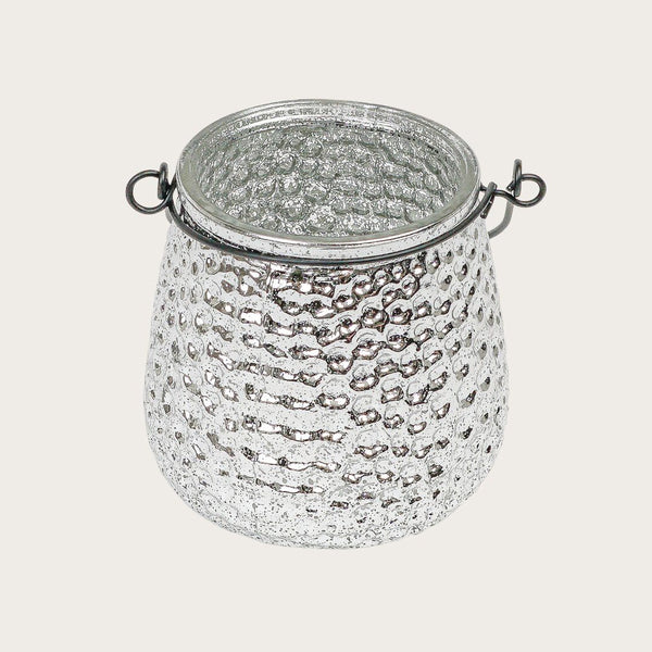 Isla Glass Candle Holder in Silver