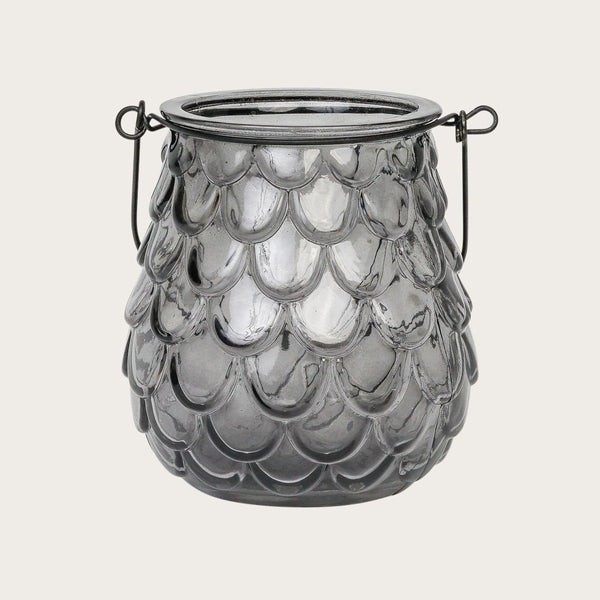 Caressa Glass Candle Holder in Grey
