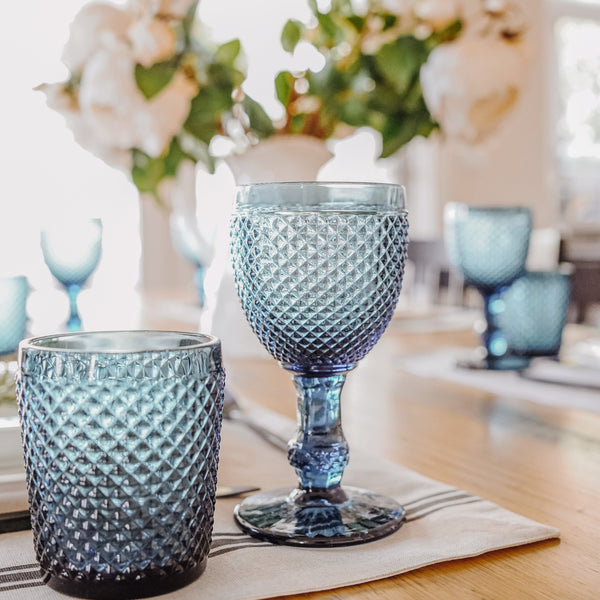 6 x Renaud Goblets Textured Wine Glass in Blue