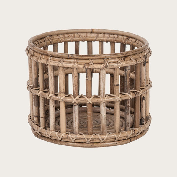 Vaquita Small Rattan Candle Holder with Glass Votive in Grey