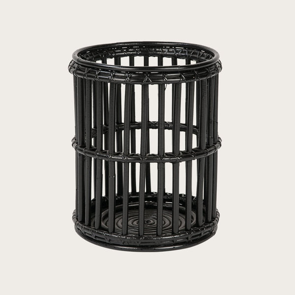 Vaquita Large Rattan Candle Holder in Black
