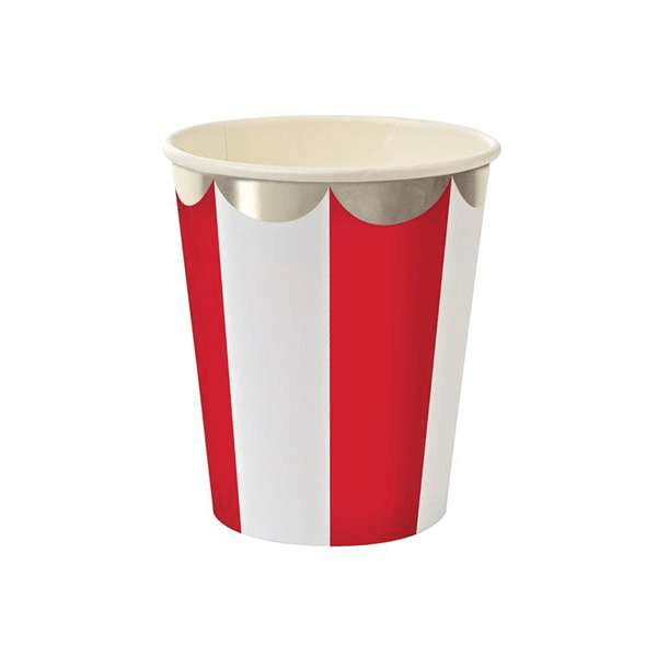 RED & WHITE STRIPED PARTY CUPS