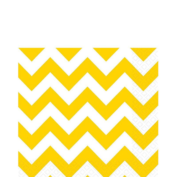 Yellow and White Chevron Paper Napkins