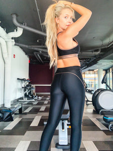 Bronzed black leggings