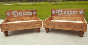 Hand Painted Wood Pet Bed with Personalized Headboard