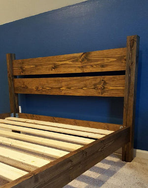 Platform Four Post Bed in Solid Wood with Headboard – STAINED