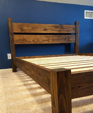 Platform Four Post Bed with Headboard (STAINED)