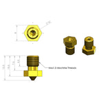 M6 Brass Nozzle for V6 All Metal Hotend (1.75mm Filament)
