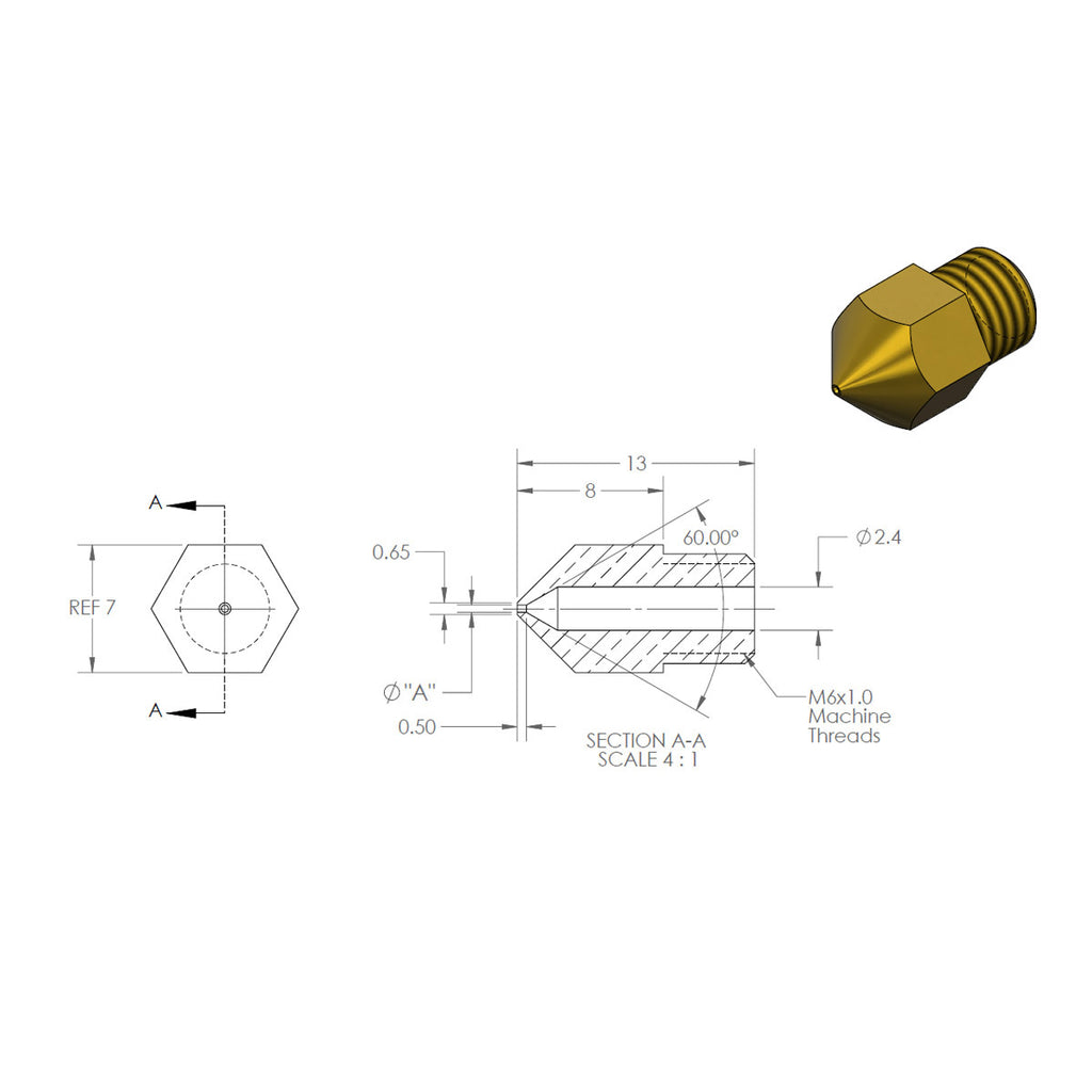 MK8 Extruder Nozzle 0.4mm for 3D Printer Hotend Makerbot