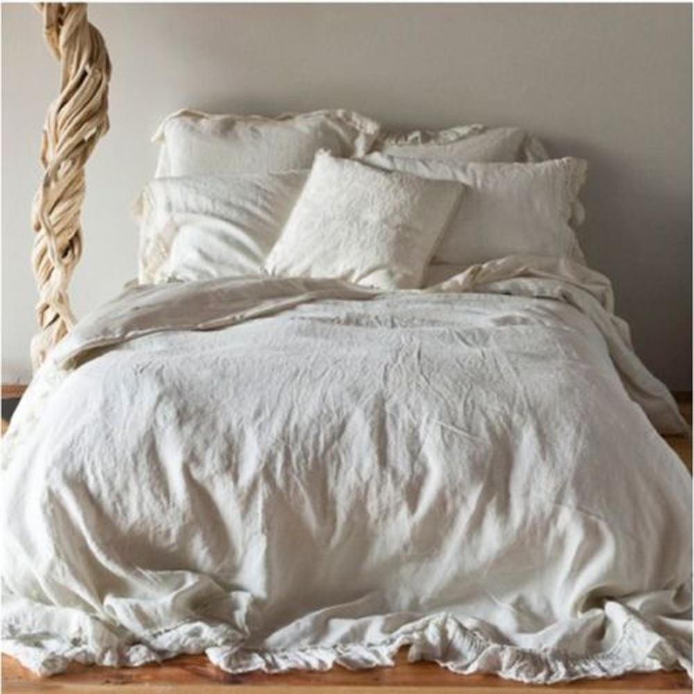 French Ruffled Flax Linen Duvet Cover Fig Avenue