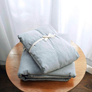 French Blue Washed Linen Duvet Cover Set