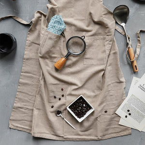 Gray Linen Apron with Pocket