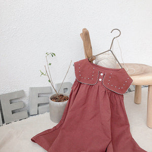 Preppy Style Linen Toddlers Dress
