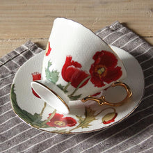 Gold Plated Poppy Bone China Cup