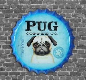 Vintage 'Pug Coffee Co' Round Bottle Cap