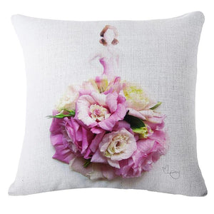 Flower Ballet Dress Cushion Cover