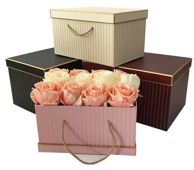 Pin Striped Rectangle Flower Gift Box