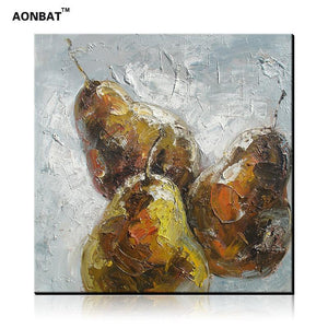 Hand-Painted Still Life Oil Painting of Pears on Canvas