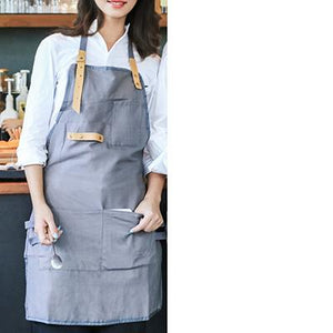 Multiple Pocket Apron with Leather Straps