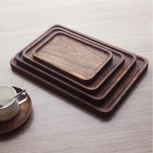 Solid Black Walnut Wood Rectangular Serving Platter