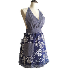 Blue Floral Damask V-Neck Retro Kitchen Apron