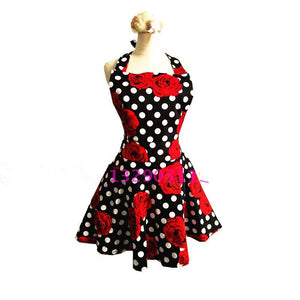 Polka Dot Red Rose Black Retro Kitchen Apron
