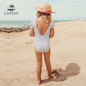 Striped Knotted Backless One-piece Swimsuit