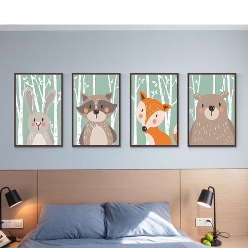 Minimalist Art Bear Fox Rabbit Canvas Poster No Frame