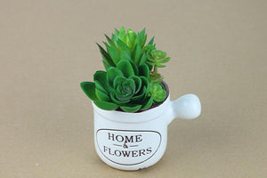 Vintage Ceramic Pots with Faux Succulents