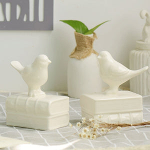 Ceramic Vintage Style Bird On Books