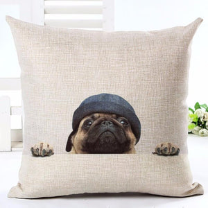 Snug Pug Cotton Cushion/Pillow Cover