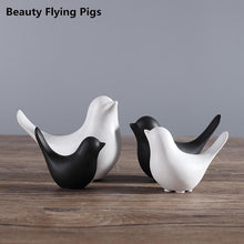 Cute Black and White Bird Ceramics