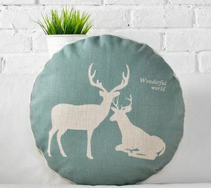 Grey Forest Themed Round Cushions