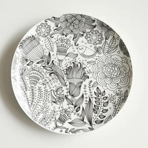 Doodle Black and White Bone China Plates