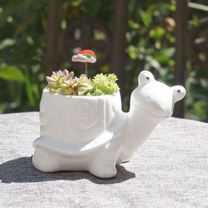 White Elephant Ceramic Pot