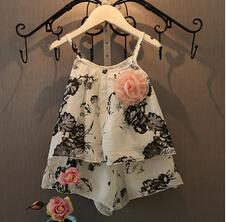 Flower Print Top and Short Pants