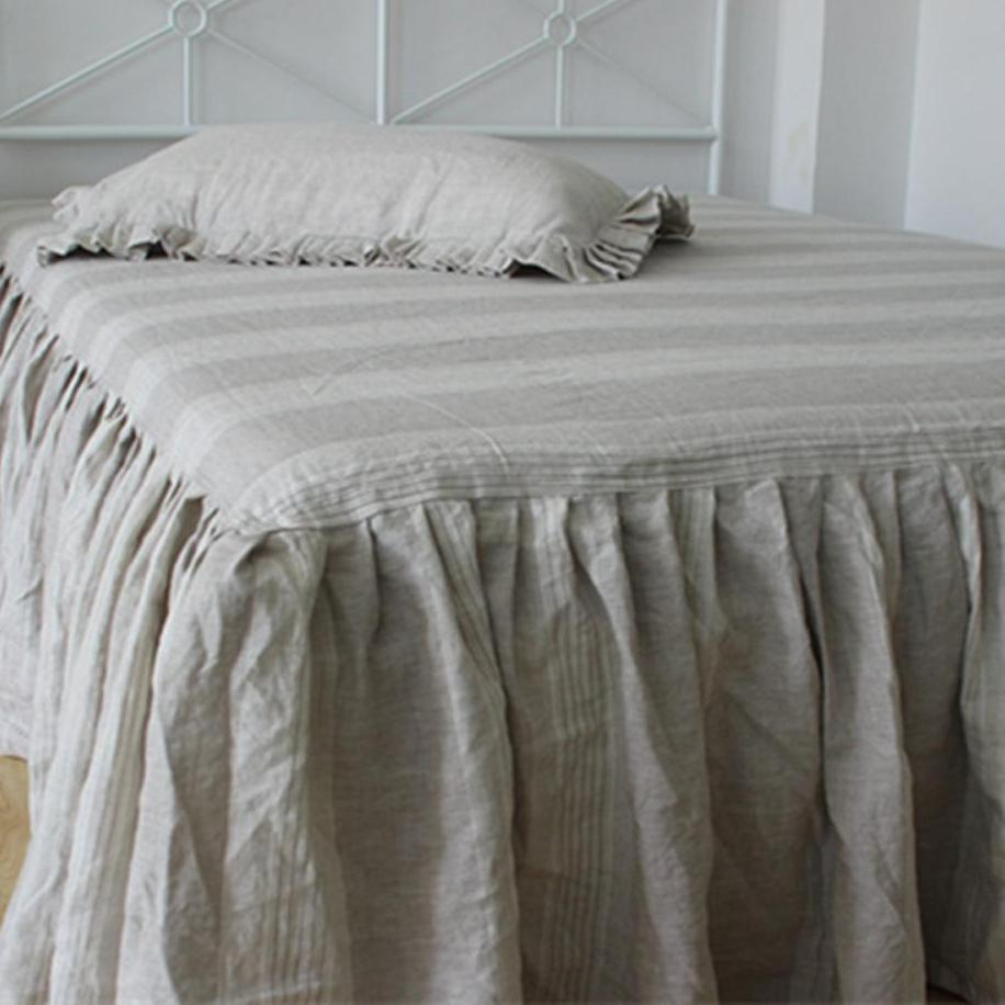 Grey and White Striped French Linen Dust Ruffle