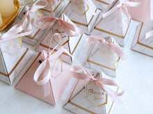 Reversible Pink Marbled Pyramid Candy Box