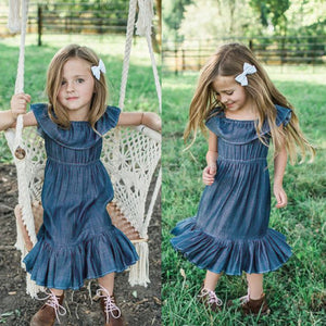 Denim Ruffled Dress