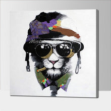 Pig in Glasses Hand Painted Modern Abstract Canvas