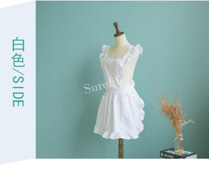 Short Elegant White Ruffled Cross Back Apron