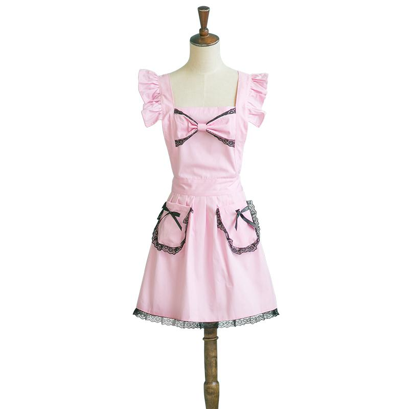 Pink Bow Frilly Apron